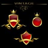 Vektoruppsättning av guld- etiketter Royaltyfri Bild