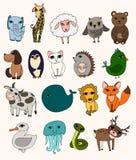 Vektoruppsättning av gullig vilda djur stock illustrationer
