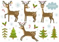 Vektoruppsättning av gulliga isolerade deers- och julträd vektor illustrationer
