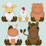 Vektoruppsättning av gulliga lantgårddjur för tecknad film Royaltyfria Bilder