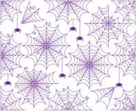 Vektoruppsättning av gulliga och kusliga Spiderwebs stock illustrationer