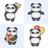 Vektoruppsättning av gulliga pandatecken stock illustrationer