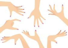 Vektoruppsättning av härliga kvinnahänder stock illustrationer