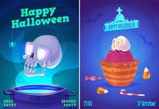 Vektoruppsättning av halloween illustrationer vektor illustrationer