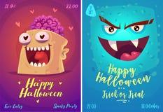 Vektoruppsättning av halloween illustrationer royaltyfri illustrationer