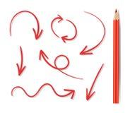Vektoruppsättning av hand drog Arrown och den röda blyertspennan, symboler med isolerade skuggor vektor illustrationer