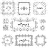 Vektoruppsättning av hand-drog calligraphic ramar royaltyfri illustrationer