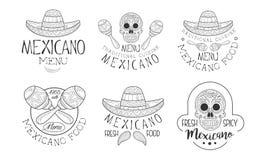 Vektoruppsättning av hand drog emblem för mexicansk restaurang Logomallar med sombrerohattar och mustaschen, skallar och stock illustrationer