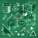 Vektoruppsättning av handdrawn matematikbeståndsdelar Arkivfoto