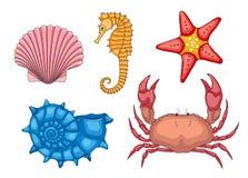 Vektoruppsättning av havsdjur Arkivfoto