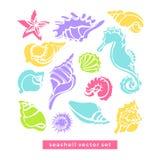 Vektoruppsättning av havshästen, sjöstjärna, cancer, snäckskal stock illustrationer
