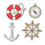 Vektoruppsättning av havsobjekt stock illustrationer