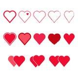 Vektoruppsättning av hjärtaformer Royaltyfri Bild