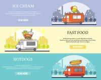 Vektoruppsättning av horisontalbaner för gatamatlastbil royaltyfri illustrationer