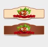 Vektoruppsättning av horisontaletiketter med hasselnötter och rött band (D royaltyfri illustrationer