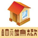 Vektoruppsättning av hussymboler Arkivfoto