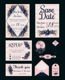 Vektoruppsättning av inbjudankort med blommabeståndsdelar som gifta sig sänkan vektor illustrationer