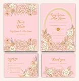 Vektoruppsättning av inbjudankort med blommabeståndsdelar som gifta sig sänkan stock illustrationer