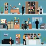 Vektoruppsättning av inre baner för kontor i plan stildesign Affärsfolk och finansarbetare Företagsmottaganderum vektor illustrationer