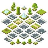 Vektoruppsättning av isometriska stadsbeståndsdelar, tvärgator, väg, trädgårds- garnering Bänkar, springbrunnträd och buskar stock illustrationer