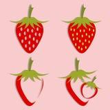 Vektoruppsättning av jordgubbesymbolen vektor illustrationer