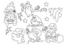 Vektoruppsättning av jul och tecken för nytt år stock illustrationer
