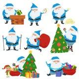 Vektoruppsättning av jul Santa Claus i blåttlag Uppsättningen av gulliga tecknad filmtecken med olika sinnesrörelser och poserar stock illustrationer