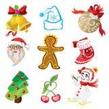 Vektoruppsättning av julsymboler i tecknad filmstil Royaltyfri Fotografi