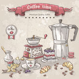 Vektoruppsättning av kaffe med turkerna, koppen, kaffekrukan och en variation av sötsaker Arkivfoton