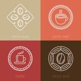 Vektoruppsättning av kaffelogoer och symboler Arkivbild
