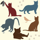 Vektoruppsättning av kattkonturer Fotografering för Bildbyråer