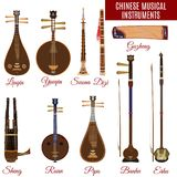 Vektoruppsättning av kinesiska musikinstrument, lägenhetstil vektor illustrationer