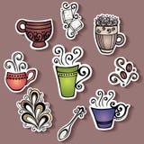 Vektoruppsättning av klistermärkear med dekorativa kaffekoppar royaltyfri illustrationer