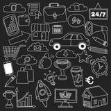 Vektoruppsättning av klotteraffärssymboler på svart tavla Arkivfoto