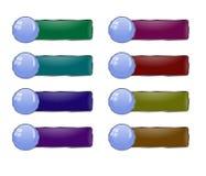 Vektoruppsättning av knappar med en stor rund ram med exponeringsglas för Arkivfoton