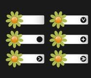 Vektoruppsättning av knappar med pappers- blommor på det vänstert och högert Arkivbilder