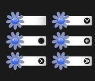 Vektoruppsättning av knappar med pappers- blommor på det vänstert och högert Arkivbild