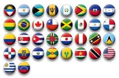 Vektoruppsättning av knappflaggor av Amerika stock illustrationer