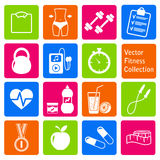 Vektoruppsättning av kondition- och hälsolivsymboler Arkivfoto
