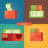 Vektoruppsättning av kontanta pengar, finanssymboler, pengarsymboler Vektor Illustrationer