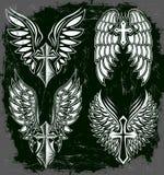 Vektoruppsättning av kors och vingar stock illustrationer