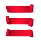 Vektoruppsättning av korta krökta röda band Arkivbilder