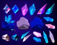 Vektoruppsättning av kristaller för fantasitecknad filmgnistrande vektor illustrationer
