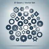 Vektoruppsättning av 37 kugghjul Arkivbilder