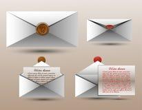 Vektoruppsättning av kuvert för design, annonser, meddelanden Royaltyfri Bild
