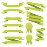 Vektoruppsättning av lägenhetgräsplanband stock illustrationer
