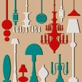 Vektoruppsättning av lampor och ljuskronor Royaltyfri Bild