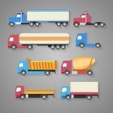 Vektoruppsättning av lastbilar med en skugga Plana symboler för färg lastbil för förrådsplatsgrävskopahav Royaltyfria Foton