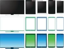 Vektoruppsättning av lcd-tvbildskärm, minnestavla och smart pho stock illustrationer