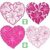 Vektoruppsättning av liljamodellen i formen av hjärta Arkivfoton